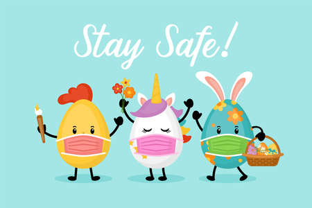 Easter holiday banner design with cute eggs cartoon characters with face medical mask