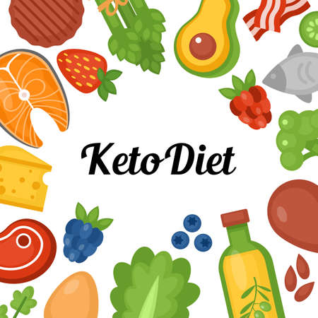 Keto diet food background with copy space. Ketogenic diet and healthy eating concept