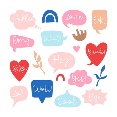 Quote speech bubble set with short messages for social media stickers design 向量圖像