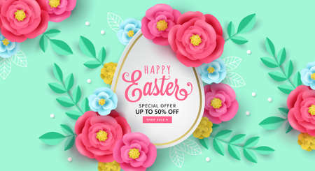 Easter holiday banner design with paper cut flowers decoration. Greeting card and poster design template