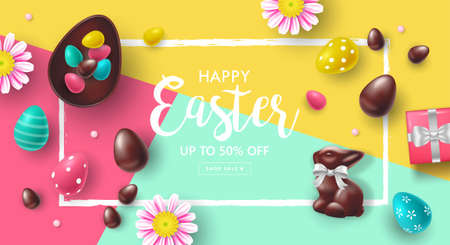 Easter holiday sale banner design with chocolate bunny and Easter eggs. Template for poster, cards and advertising
