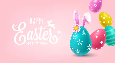 Easter holiday sale banner design with Easter eggs and bunny ears. Greeting card or poster template design Illustration