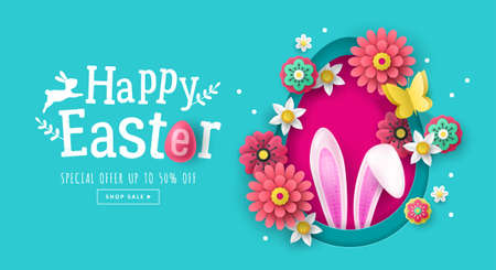 Easter holiday banner design with paper cut flowers and bunny ears decoration. Greeting card and poster design template