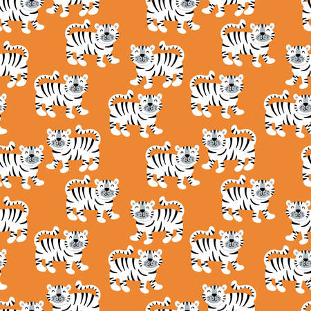 Seamless pattern with cute tiger character. Childish background for fabric, wrapping paper, textile, wallpaper apparel and nursery decoration