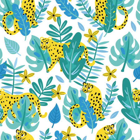 Seamless pattern with tropical leopard and leaves. Childish background for fabric, wrapping paper, textile, wallpaper and apparel 向量圖像