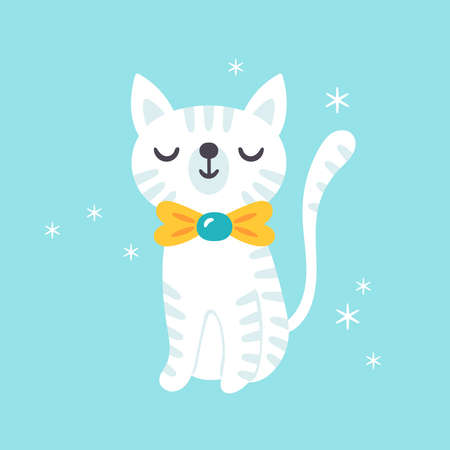 Cute cat character design. Childish print for t-shirt, apparel, cards and nursery decoration. Vector Illustration