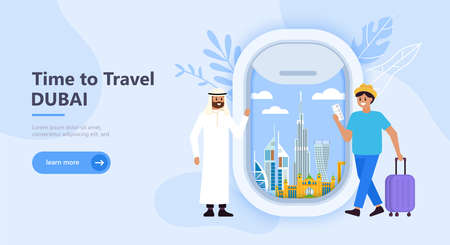 Travel to Dubai concept with landmark icons, tourist characters and airplane window