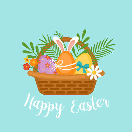 Easter holiday banner design with Easter eggs in basket