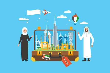 Travel to Dubai concept with skyline, famous buildings landmark in suitcase and arab people characters Illustration