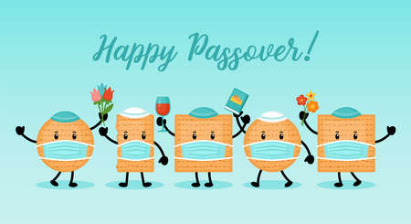 Passover holiday banner design with matzah funny cartoon characters with face medical mask 向量圖像
