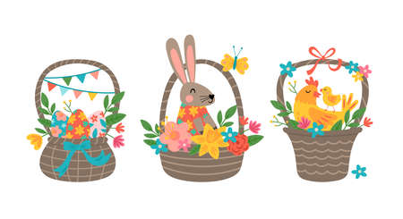 Easter holiday cute basket set with Easter eggs, bunny and chicken. Childish print for greeting card, banner and decoration 向量圖像