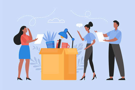 Job loss and crissis unemployment concept. Modern vector illustration with boss dismissing woman employee and office items in box
