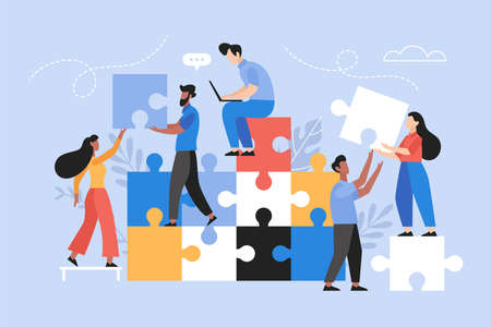 People searching for creative solutions. Teamwork business concept. Modern vector illustration of people connecting puzzle elements 向量圖像