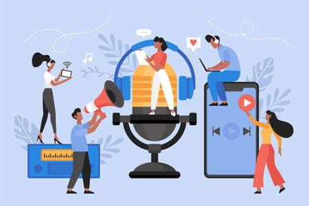 Podcast or audio online brodcasting concept. Modern vector illustration of people with microphone, headphones and smartphone listening to radio channel program 向量圖像
