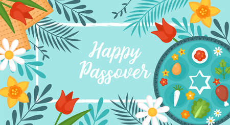 Passover Pesach holiday banner design with matzah, seder plate and spring flowers. Greeting card or seder party invitation template background