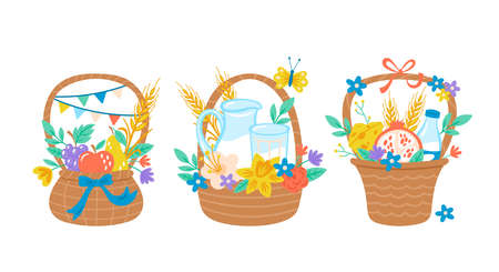Jewish holiday Shavuot cute gift basket set. Childish print for greeting card, banner, poster and invitation template. 向量圖像