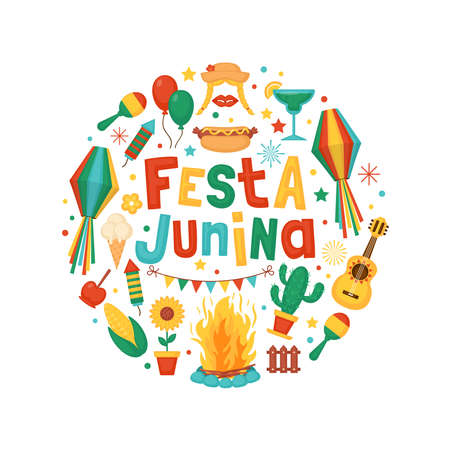 Festa Junina festival greeting card design. Brazilian Latin American festival celebration concept.
