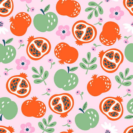 Seamless pattern background with apples and pomegranate. Childish print for cards, wallpapers and templates.