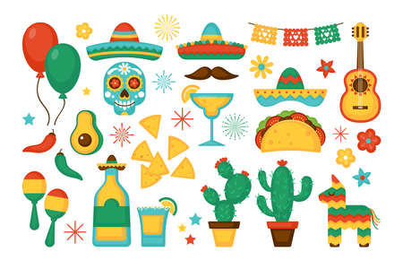 Cinco de Mayo Mexican Holiday elements set. Greeting card, poster and banner template design