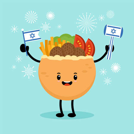 Israel Independence day concept with cute falafel in pita bread character. Greeting card and banner design 向量圖像
