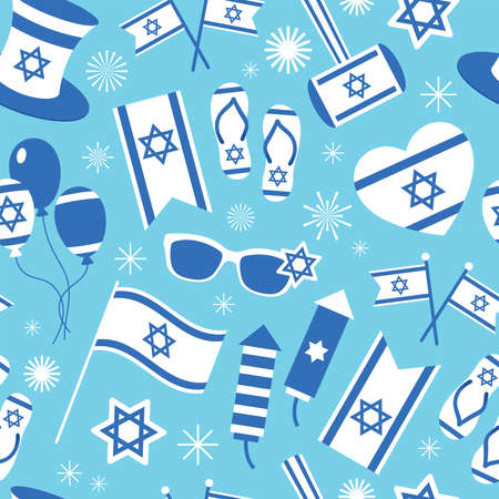 Israel Independence day seamless pattern design. Background for wrapping paper print, greeting card or banner. 向量圖像