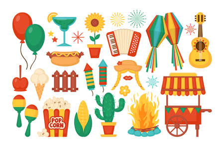 Festa Junina festival elements and icons set. Brazilian Latin American festival celebration concept. Greeting card and banner template.