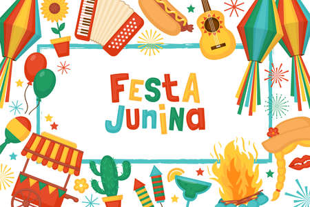 Festa Junina festival banner design. Brazilian Latin American festival celebration concept. Greeting card and poster template. Stock Illustratie