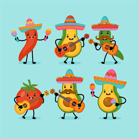 Cinco de Mayo Mexican Holiday greeting card design cute funny avocado, hot pepper and tomato characters. 向量圖像