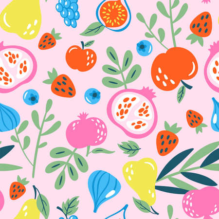 Seamless pattern with fuits and berries. Childish print for greeting card, wrapping paper,wallpaper and invitation background.