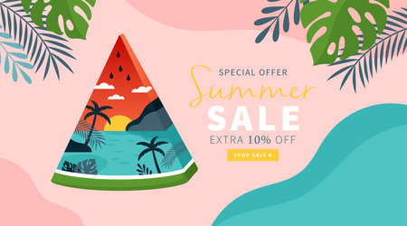Summer background template for social media, banner or poster design. Tropical beach landscape with palm trees in watermelon creative concept.