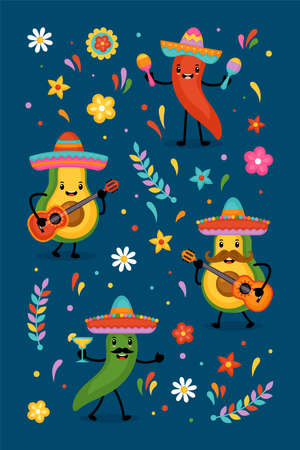 Cinco de Mayo Mexican Holiday greeting card design cute funny avocado and  chilli pepper characters.