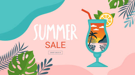 Summer background template for social media, banner or poster design. Tropical beach landscape with palm trees in cocktail glass creative concept. Illustration