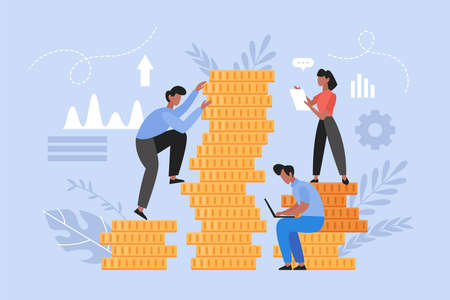 Investment management and finance growth concept. Modern vector illustration of people on stack of coins.