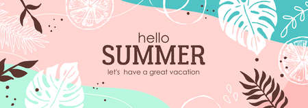 Summer anstract background. Modern trendy template for social media banner, poster, greeting card or website design Illustration