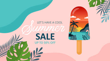 Summer background template for social media, banner or poster design. Tropical beach landscape with palm trees in ice cream creative concept. Illustration
