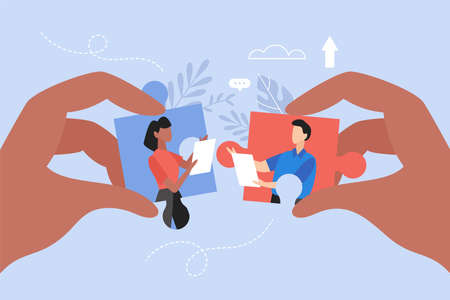 Client and developer collaboration business concept. Modern vector illustration of people connecting puzzle elements