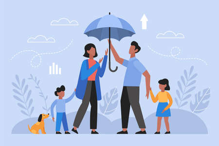 Family health insurance concept. Modern vector illustration of husband, wife and children with umbrella protection.
