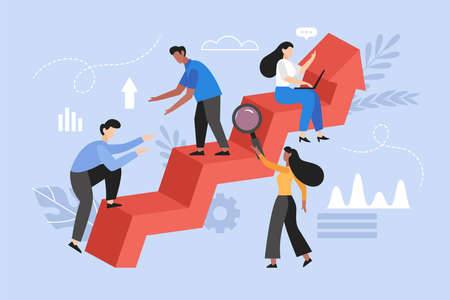 Increase motivation and help in goal focus concept. Modern vector illustration of people support and teamwork with arrow profit. Illustration