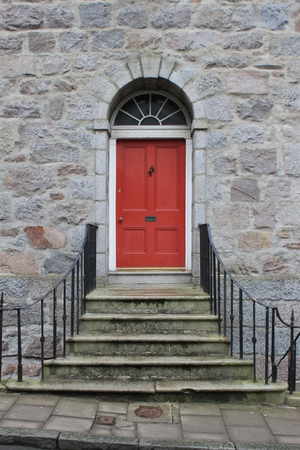 red door: stairs to red door