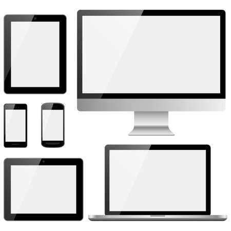 laptop screen: Electronic Devices with Black Screens Illustration