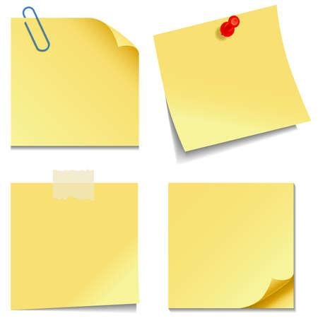 připínáček: Sticky Notes - Sada žluté poznámek izolovaných na bílém pozadí
