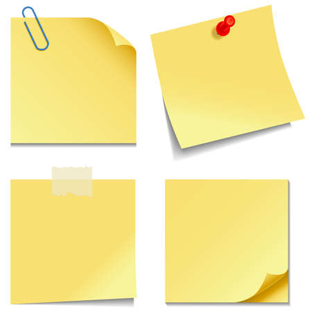 yellow tacks: Sticky Notes - Set of yellow sticky notes isolated on white background