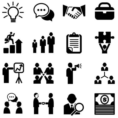 announcement message:  Business Icons - Set of business icons isolated on a white background