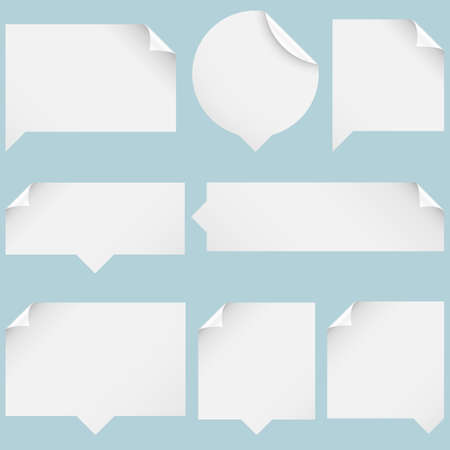 Paper Speech Bubbles - Set of paper speech bubbles isolated on blue background  Vector