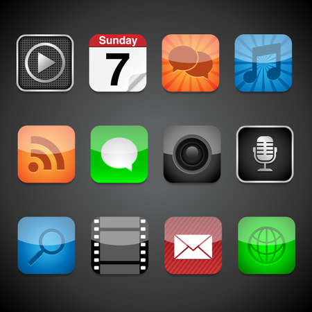 App Icons - Vector app icons on a black background Vector