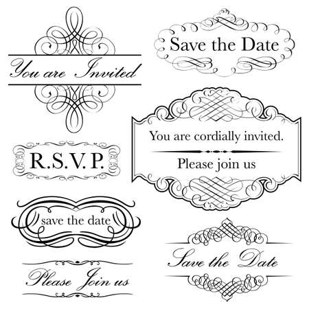 초대 설정은 - 초대의 컬렉션 빅토리아 서예 스타일에서 수행하는 디자인 일러스트