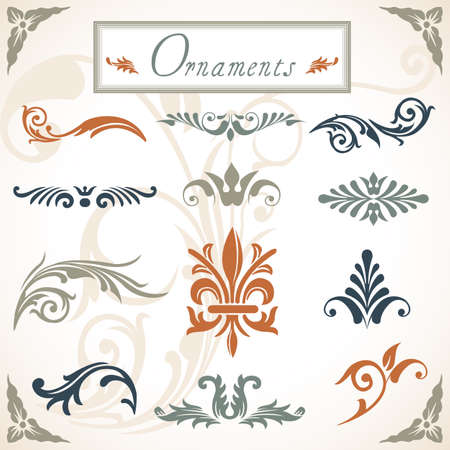 grouped: Victorian Scroll Ornaments - A collection of various scroll ornaments   Objects are grouped and file is layered  Illustration