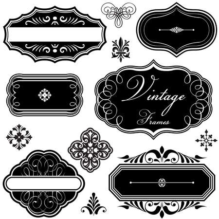 Fancy Vintage Frames and Ornaments - Set of vintage-style frames and scroll ornaments    Çizim