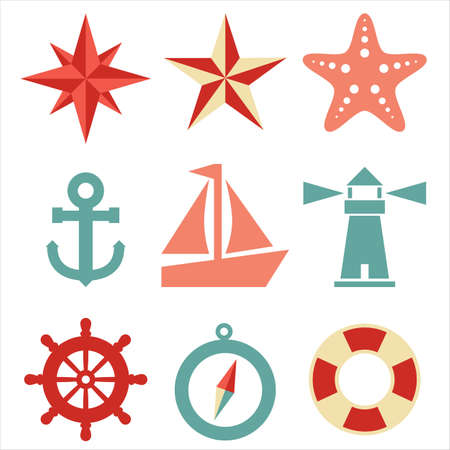 nautical star: Nautical Icons - A set of 9 nautical-themed icons   Each icon is a separate group  Illustration