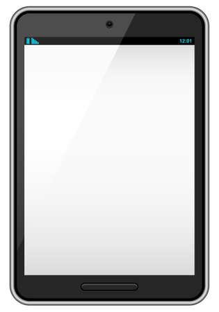 touchpad: Black Vector Tablet - Realistic vector tablet with blank screen isolated on white background  Illustration
